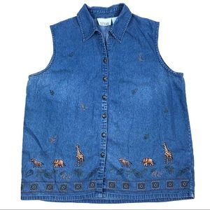 Casey & Max Vintage Animal Embroidered Denim Shirt